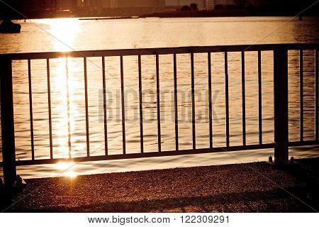 Silhouette of Balcony on the river Background texture.