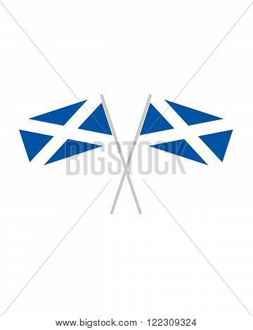 Two crossed vector Scottish Flags in Colour