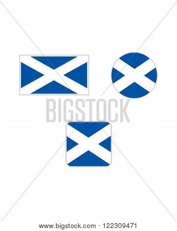 Vector Scotland Flag and Icon Symbol Set
