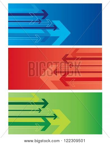 Vector Shooting Arrow Set in Blue, Red and Green