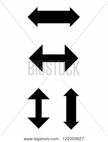 A collection of simple vector arrows in black and white