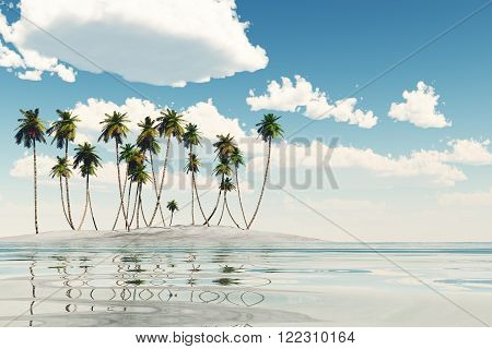 single coconut island at calm tropic sea, 3D Rendering