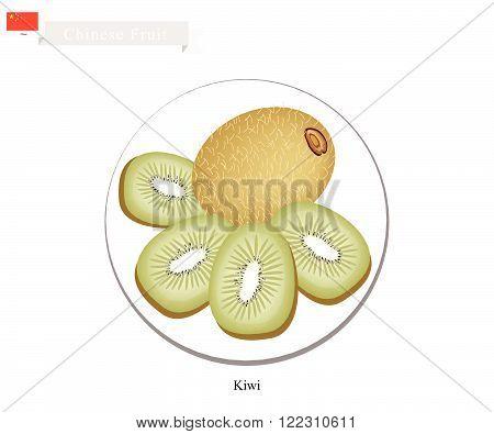 China Fruit Illustration of Kiwifruit or Chinese Gooseberry. One of Most Popular Fruits in China.