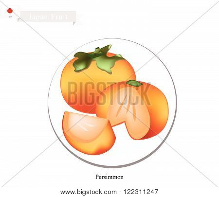 Japan Fruit, Ripe and Sweet Kaki or Japanese Persimmon. One of The Most Popular Fruits in Japan.