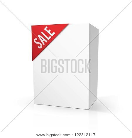 Blank cardboard package mock up with red SALE label isolated on white. Vector illustration eps10.