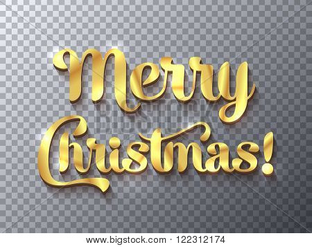 Merry Christmas golden sign on transparent background design element for banners flyers and so. Vector illustration eps10.