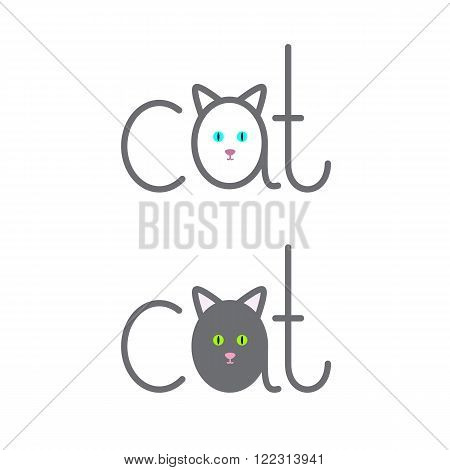 Set of cat lettering with lettering a in the shape of cat isolated on white background. Logo template. Design element