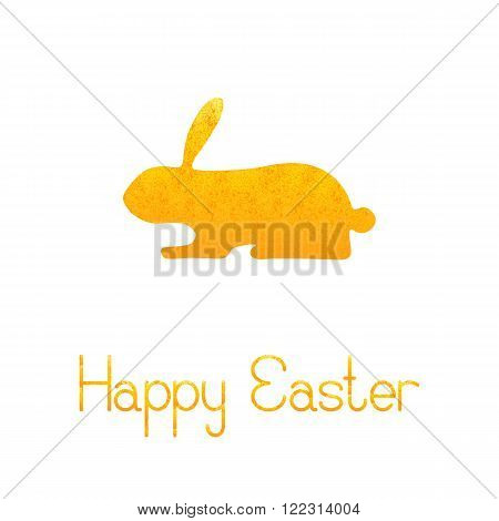 Greeting card with shabby golden rabbit and lettering Happy Easter isolated on white background