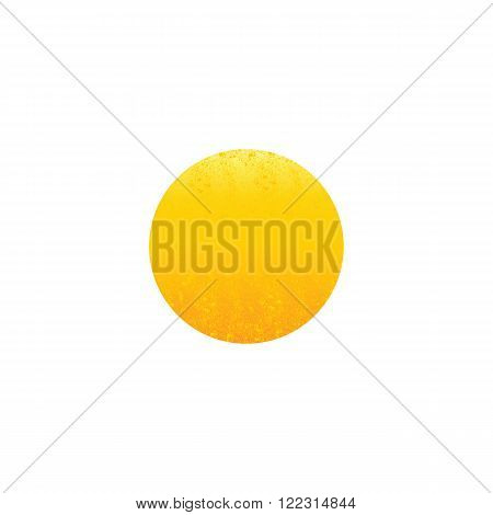 Shabby golden colored circle isolated on white background. Logo template design element