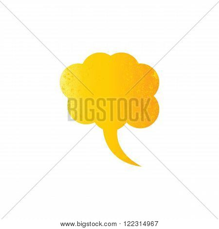 Shabby golden speech bubble isolated on white background. Vintage design element