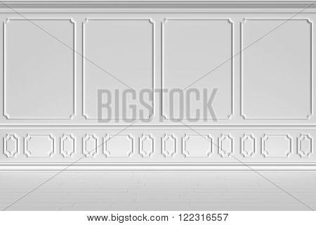 Simple classic style non-color white interior illustration - white wall inclassic style empty white room interior colorless 3d illustration.