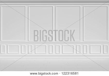 Simple classic style non-color white interior illustration - white wall of classic style white empty room interior colorless 3d illustration.