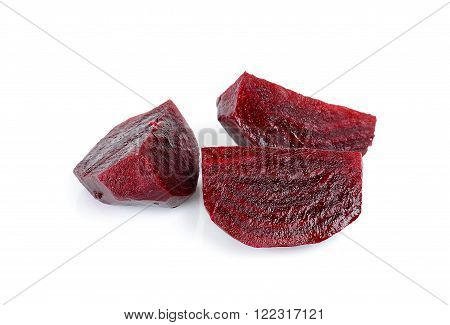 Boiled sliced beetroot isolated on white background.