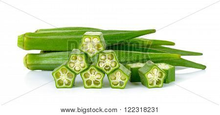 Sliced okra isolated on the white background.