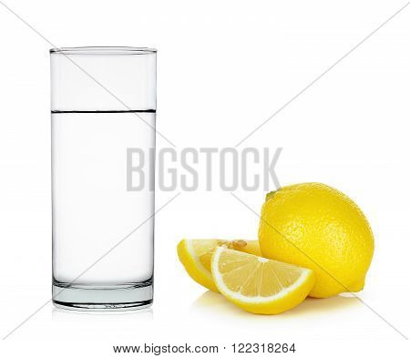 Water Of Glass With Lemon Isolated On White
