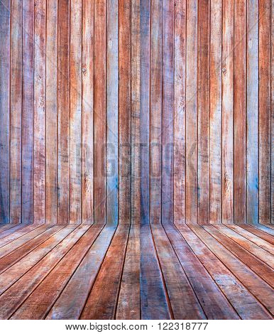 perspective epmty retro wooden background and floor