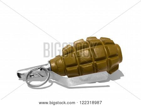 Battle, a hand grenade on white background