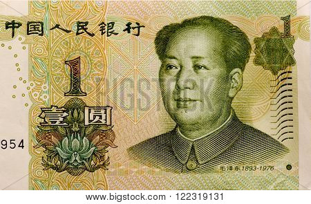 paper money china one yuan as a background. view from above .