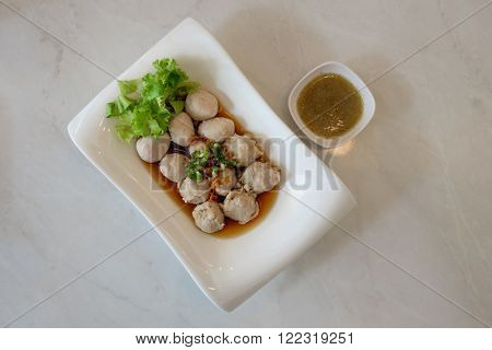Top View Of Pork Balls With Spicy Dipping