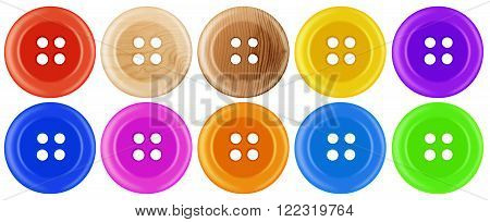 Colorful plastic dress buttons isolated on white
