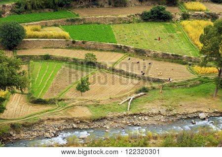 Agricultural landscape in Atlas Mountains, Morocco, Africa