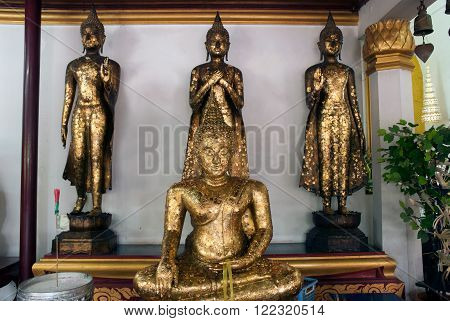 AYUTTHAYA,THAILAND-FEBRUARY 10,2010 : Group of Buddha on the interior walls of the ordination hall in Wat Na Phra Meru,This temple is an important one in Ayutthaya Historical park of Thailand,Middle of Thailand.
