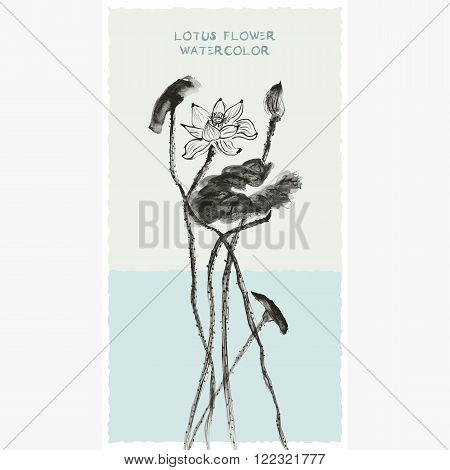 Postcard with watercolor lotus flower. Stock vector illustration.