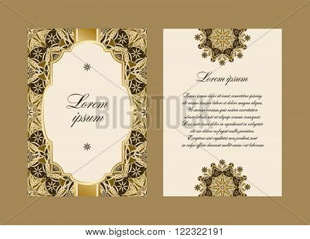 Elegant card with a floral pattern mandala. Vector pattern in Eastern style. The obverse and reverse sides. Perfect for congratulations or invitation. Easy to edit