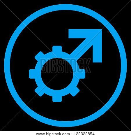 Technological Potence vector icon. Image style is a flat icon symbol inside a circle, blue color, black background.