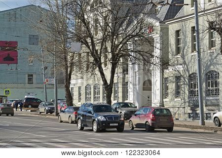 Moscow, Russia - March 14, 2016. street New Basmannaya and a Bank VTB 24