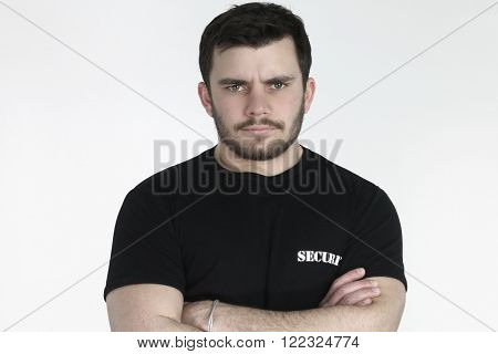 security guard posing over a white background