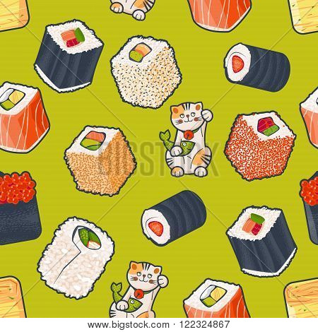 Traditional japanese food. Sushi rolls and lucky cat with fish. Seamless background pattern. Vector illustration