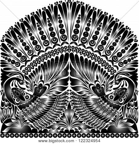 vector russian ornament. traditional  folklore ornament withe bird