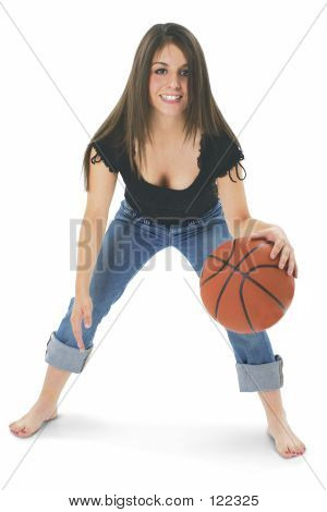 Teen Girl With Basketball Barefoot Over White