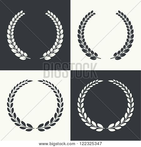 Set of vector circular laurel wreath. Insignia awards,  prizes and excellence.
