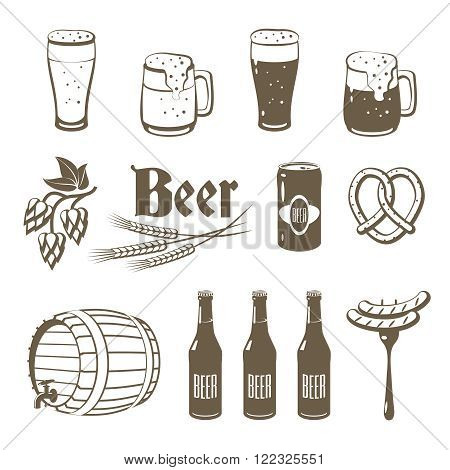 Set of monochrome lineart food icons: beer - light and dark beer mugs bottles hop cones barley beer keg pretzel and sausages. Vector illustration isolated on white eps 10.
