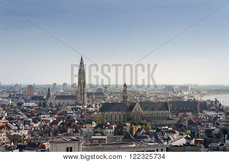 Aerial view on the Cathedral of Our Lady and the Church of Saint Paul in Antwerp Belgium. viewed from Museum aan de Stroom