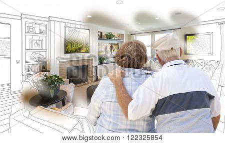 Curious Senior Couple Looking Over Custom Living Room Design Drawing Photo Combination.