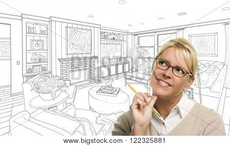 Woman With Pencil Over Custom Living Room Design Drawing.
