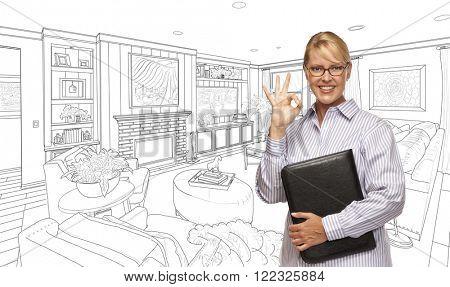Woman with Okay Sign Over Custom Bedroom Drawing.
