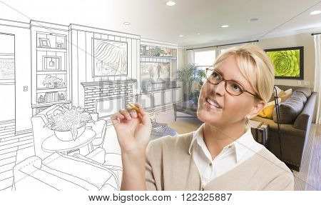 Woman With Pencil Over Living Room Design Drawing and Photo Combination.