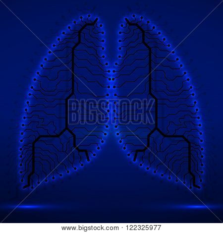 Neon human lung. Circuit board. Vector illustration. Eps 10