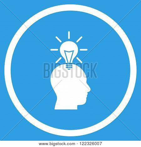 Genius Bulb vector icon. Image style is a flat icon symbol inside a circle, white color, blue background.