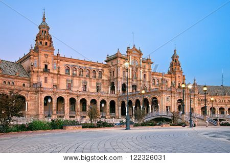 Sevilla Spain - October 25 2015: Plaza de Espana during sunset in Sevilla Andalusia Spain.