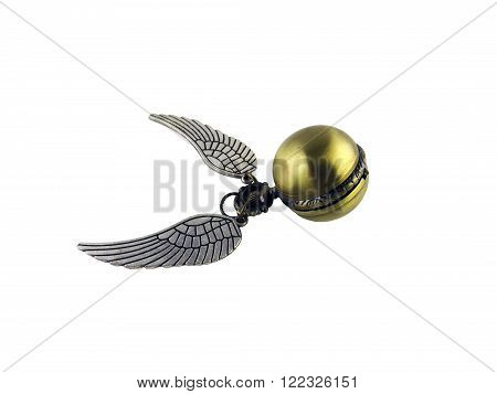 Golden Snitch mechanical watch jewelry pendant on a white background