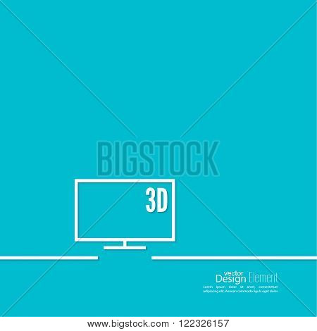 Abstract background with a flat-screen TV. Line art