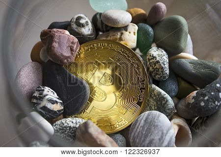 Bitcoin in the stones. Mining crypto currencies is mining. ** Note: Visible grain at 100%, best at smaller sizes