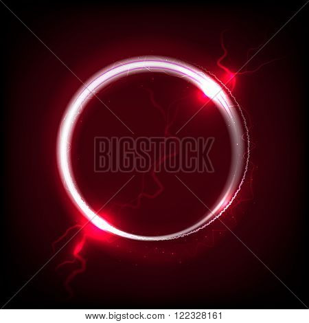 Shiny circle on dark red background - place for your text. Vector illustration.