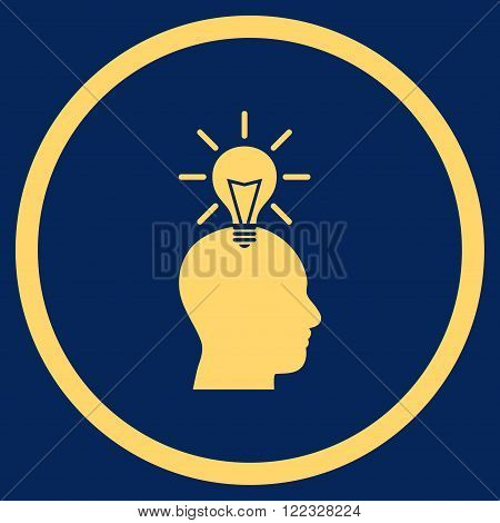 Genius Bulb vector icon. Image style is a flat icon symbol inside a circle, yellow color, blue background.