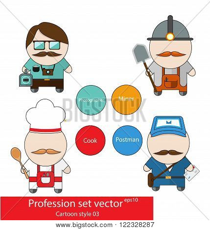 Profession set photographer miner chef and postman. Cartoon style. Good as stickers and design elements